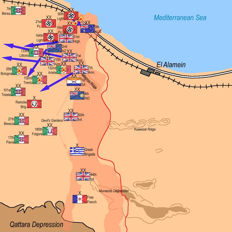Карта-схема битвы у Эль-Аламейна.