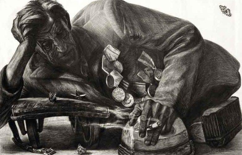 «Отдых в пути» – солдат Алексей Курганов, он жил в доме-интернате сибирского села Такмык Омской области. Прошел войну от Москвы до Венгрии и лишился ног.
