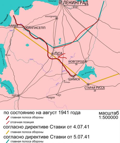 Схема расположения Лужского оборонительного рубежа.
