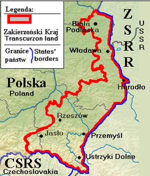 Карта-схема территории Закерзонии.