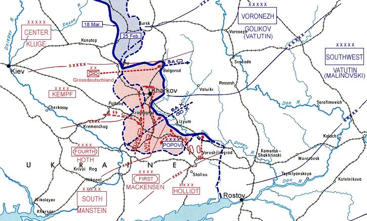 Карта-схема немецкого контрудара под Харьковом.