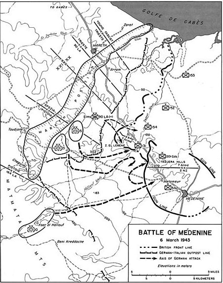 Карта-схема битвы за Меденин.