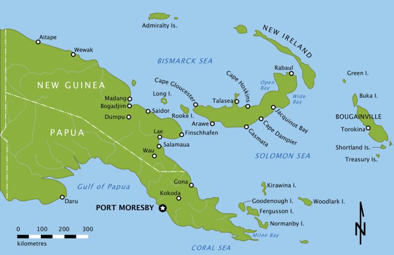Острова Новая Гвинея и Новая Британия. Мыс Глостер находится на западной оконечности Новой Британии к северу от Араве.
