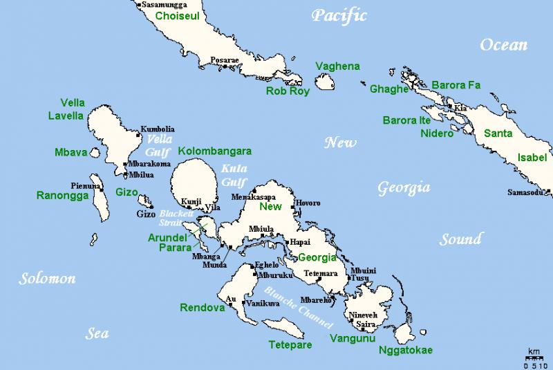 Карта островов Нью-Джорджия.