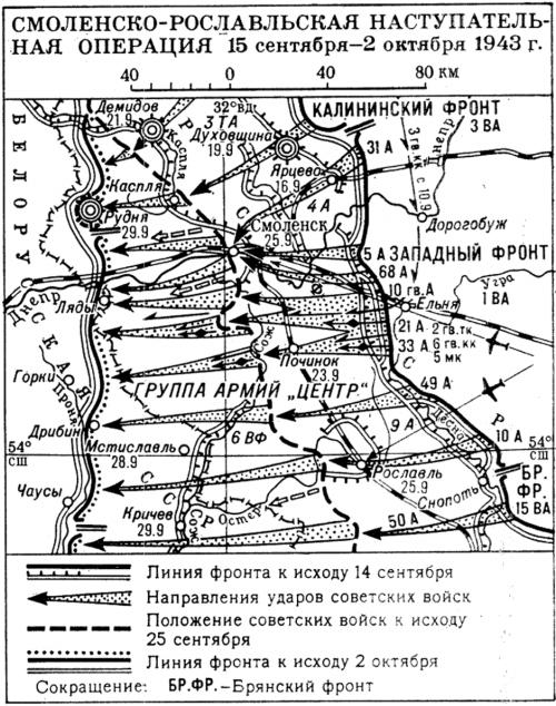 Карта-схема Смоленско-Рославльской операции.