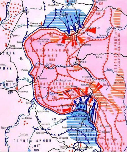 Карта-схема Курской оборонительной операции.