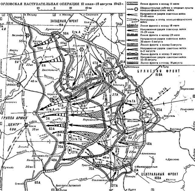 Карта-схема Орловской наступательной операции.