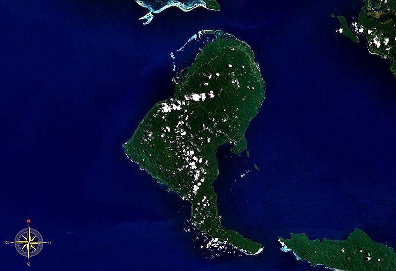 Вид на остров Рендова с космоса.