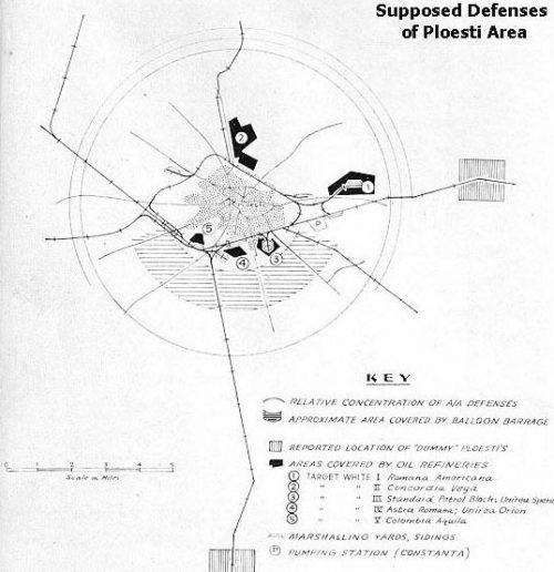 Схема ПВО района Плоешти на 1 августа 1943 года.