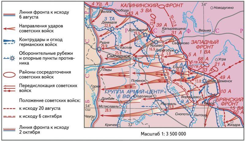 Карта-схема Смоленской наступательной операции.