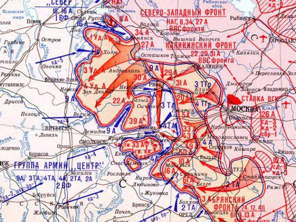 Карта-схема боевых действий во время Ржевско-Вяземской операции .