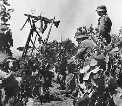 Немецкая пулеметная позиция на острове.
