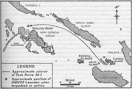 Схема подхода американской эскадры к месту боя у Коломбангара.