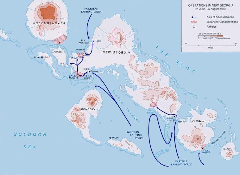 Карта-схема высадки десантов союзников в Нью-Джорджии.