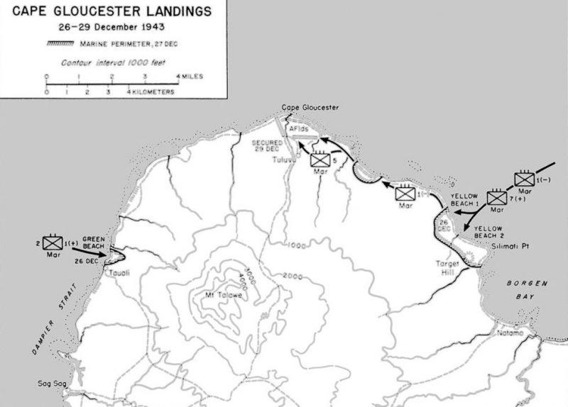 Место высадки десантов на мысе Глостер.