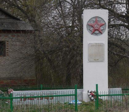 д. Княгинино Новомосковского р-на. Обелиск, установленный на братской могиле, в которой похоронены советские воины, погибшие в годы войны.