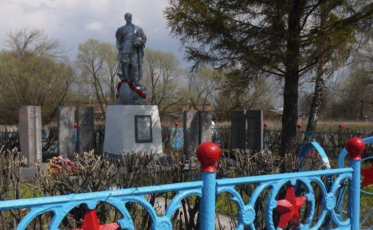 д. Новики Новомосковского р-на. Памятник, установленный в 1957 году на братской могиле, в которой похоронены советские воины, погибшие в годы войны.