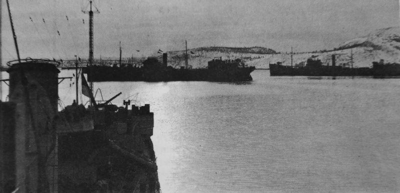 Транспорты морского конвоя в порту Архангельска. 1942 г.