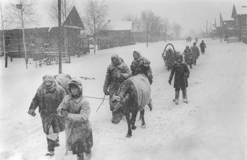 Беженцы возвращаются в город. Январь 1942 г.