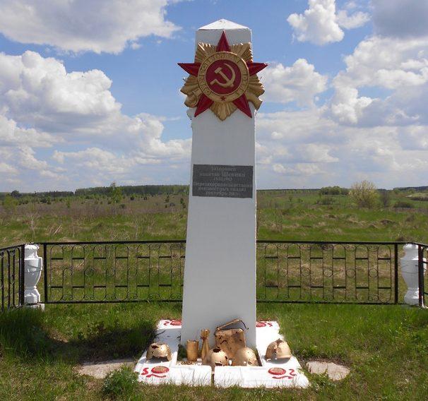 д. Бутырки Арсеньевского р-на. Памятник на могиле майора Шевнина.