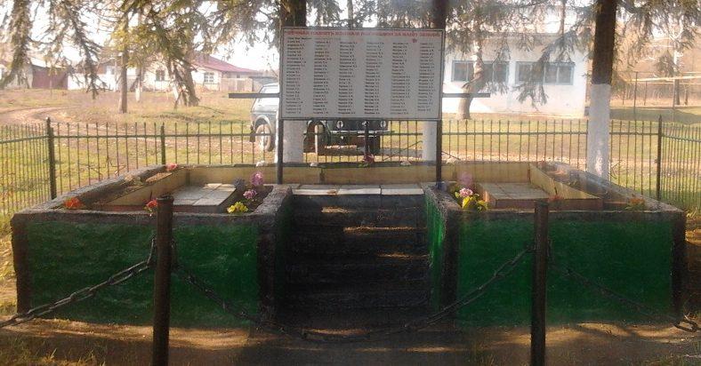 с. Ержино Чернского р-на. Памятник, установленный в 1966 году на братской могиле, в которой похоронены советские воины.