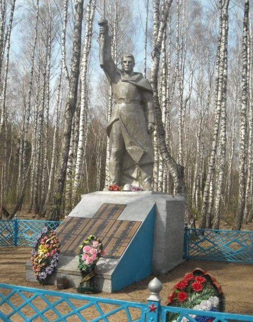 д. Нижние Ростоки Арсеньевского р-на. Памятник, установленный на братской могиле, в которой похоронены советские воины.