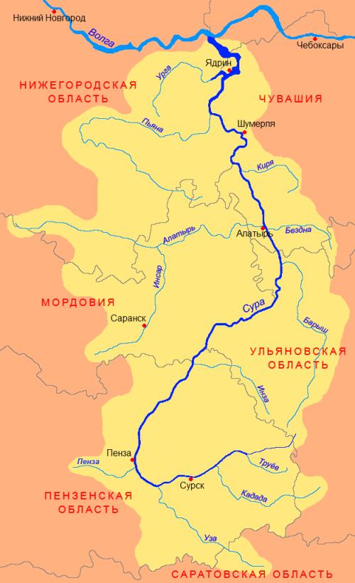 Бассейн реки Сура.