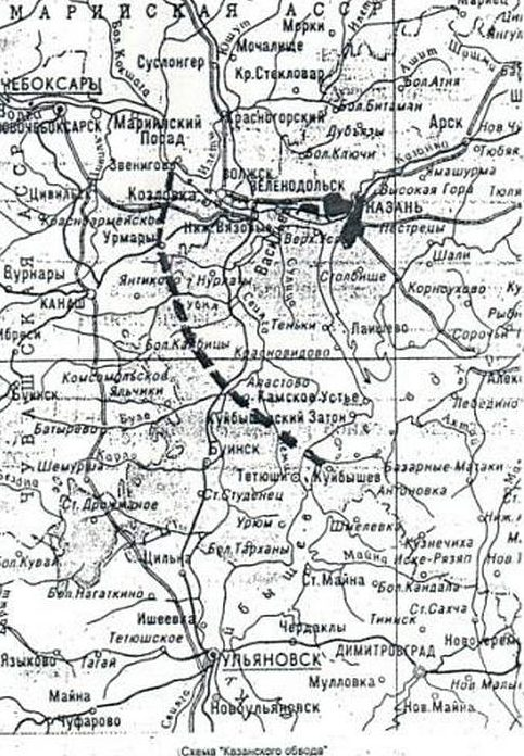 Карта-схема Казанского обвода.