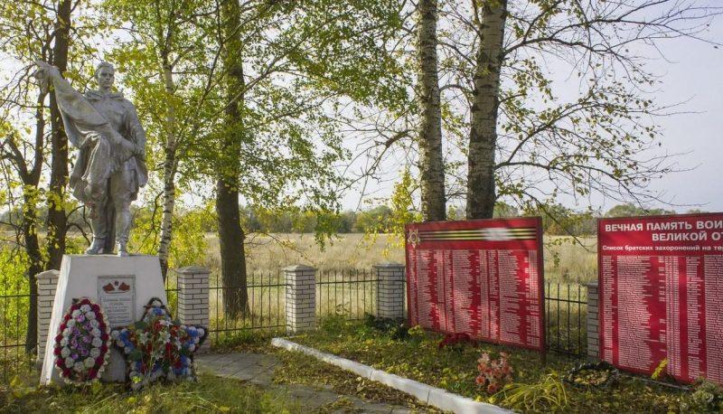 д. Береговая Белевского р-на. Памятник, установленный на братской могиле в 1956 году, в которой похоронено 315 советских воинов.