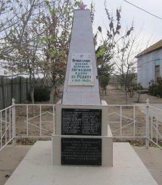 с. Нововасильево Володарского р-на. Обелиск по улице Жукова, установленный в 1968 году в честь погибших земляков в годы войны.