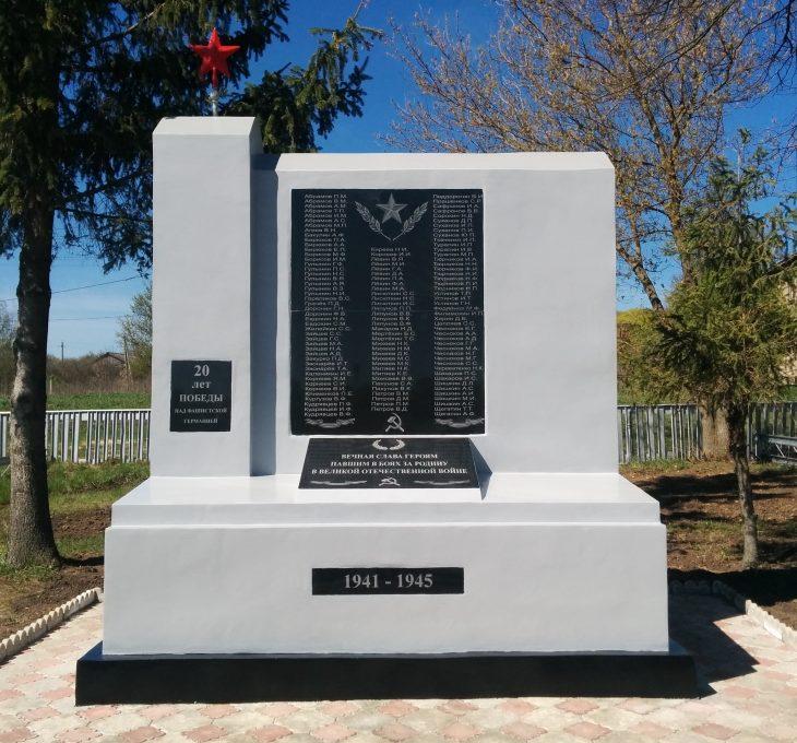 с .Борятино Воловского р-на. Памятник, установленный на братской могиле, в которой похоронены советские воины, погибшие в годы войны.