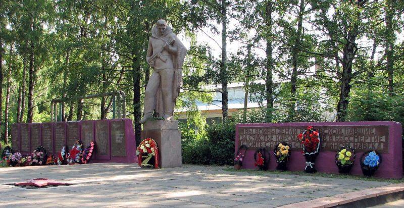 п. Волово. Памятник по улице Ленина 48, установленный на братской могиле, в которой похоронены советские воины, погибшие в годы войны.