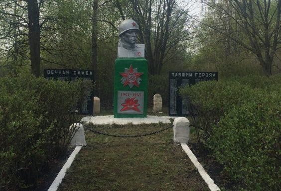 д. Красная Дубровка Воловского р-на. Памятник, установленный на братской могиле, в которой похоронены советские воины, погибшие в годы войны.