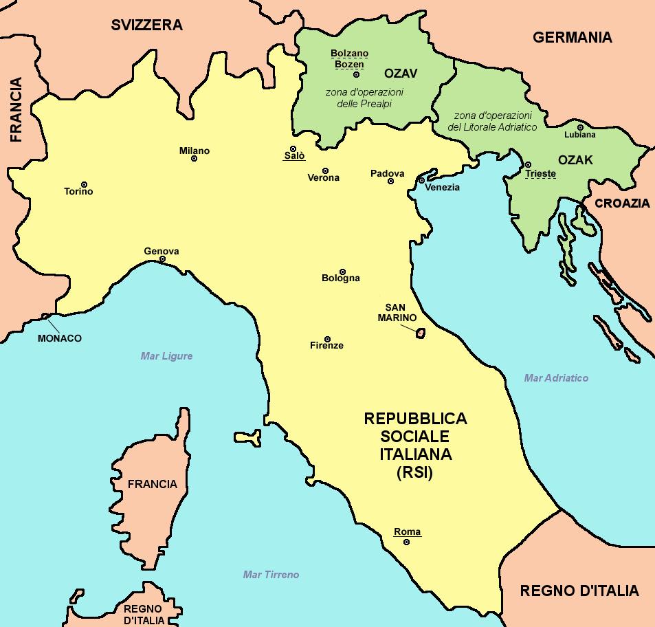 Карта Республики Сало. Районы, отмеченные зеленым, были официально частью Республики, но были признаны Германией как районы военной операции и находятся под прямым контролем Германии.