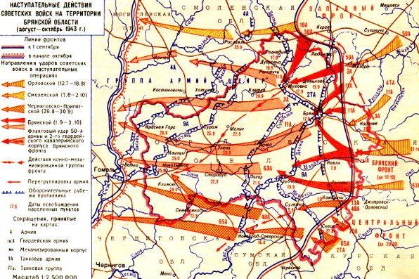 Карта-схема боевых действий Брянского фронта.