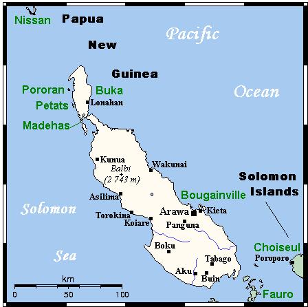 Острова Бугенвиль и Бука на карте.