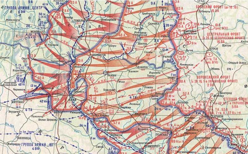 Карта-схема боевых действий Воронежского фронта.