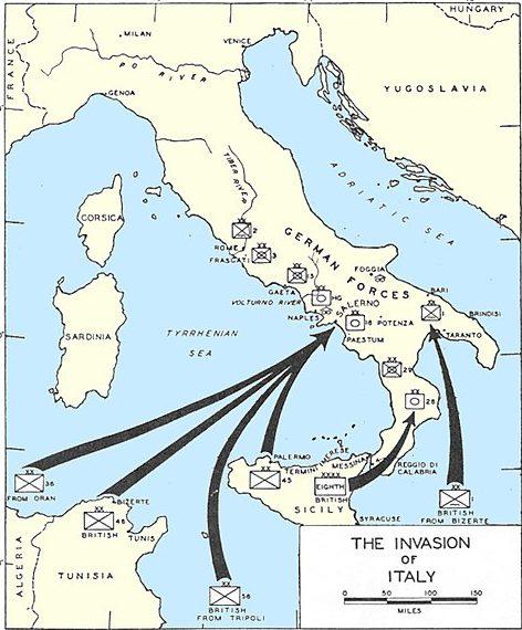 Карта-схема боевых действий на Апеннинском полуострове.