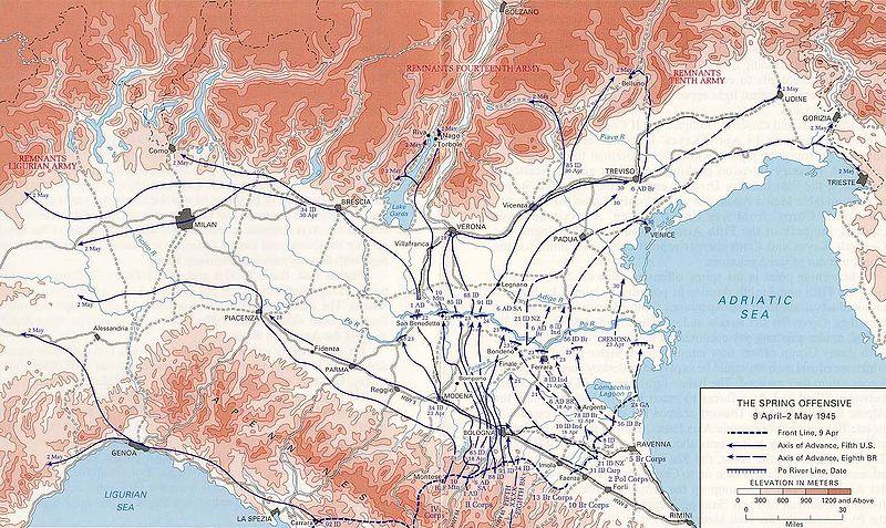 Карта-схема Северо-Итальянской операции.