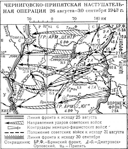 Карта-схема Черниговско-Припятской операции.