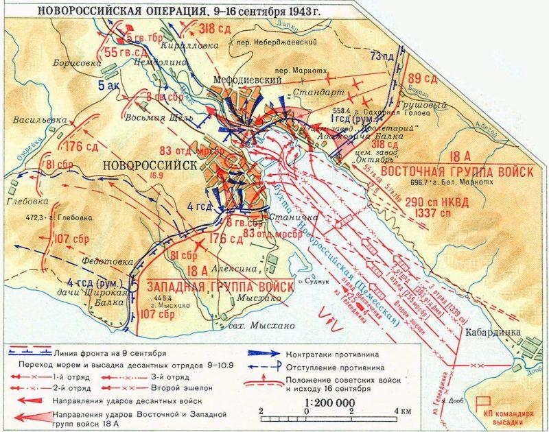 Карта-схема Новороссийской операции 9-16 сентября 1943 г.