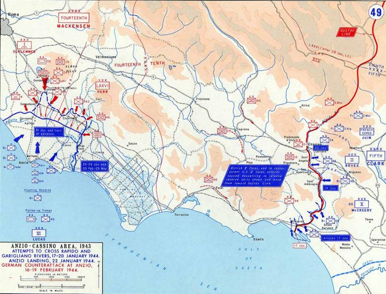 Позиции Союзников в Монте-Кассино и Анцио, январь-февраль 1944 г.