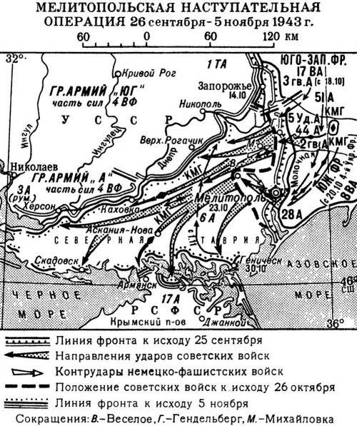 Карта-схема Мелитопольской операции.