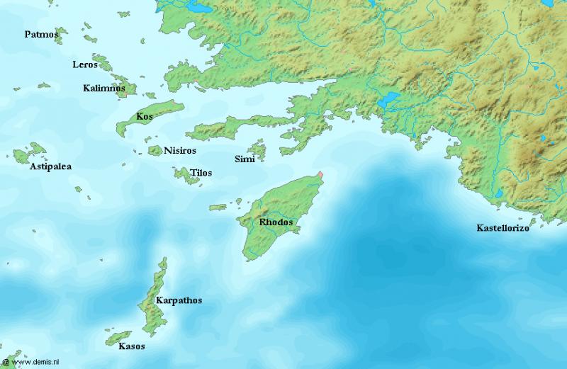 Острова Додеканес на карте.