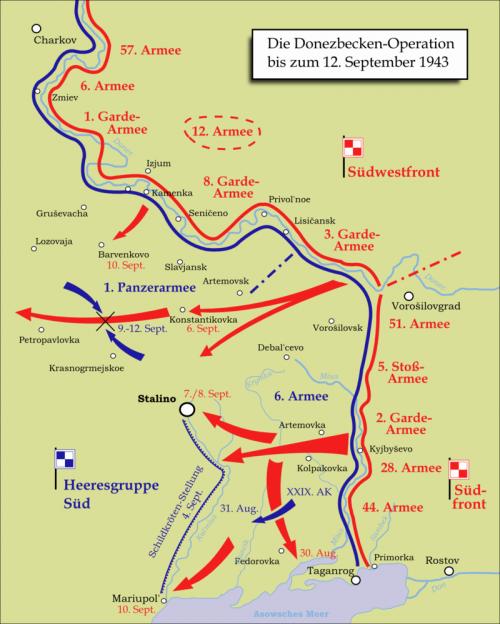 Карта-схема Донбасской наступательной операции.