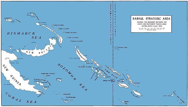 Карта юго-западной части Тихого океана, где произошёл бой между американскими и японскими истребителями.