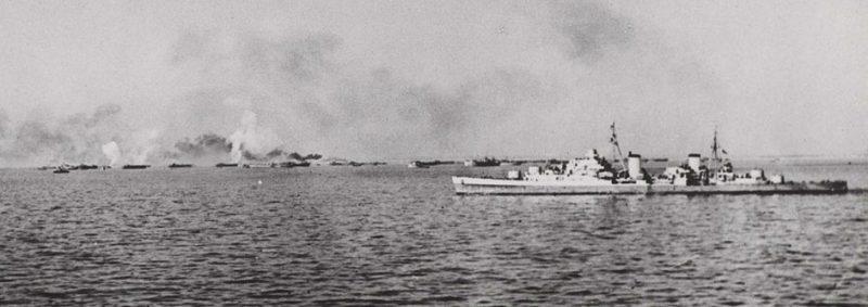 Обстрел берега перед высадкой в Анцио. 22 января 1944 г.