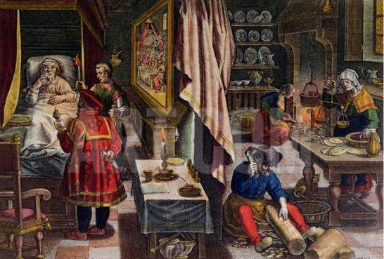 Ян ван дер Страт нарисовал сцену лечения богатого человека деревом гваякум, про которое писалось выше. Картина написана примерно в 1580 году.