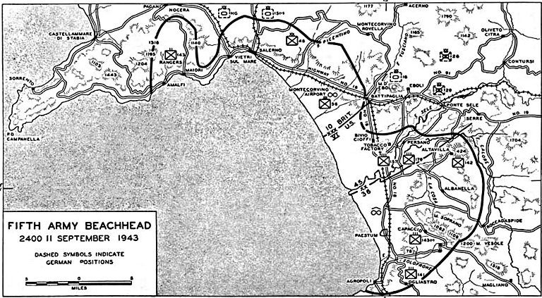 Карта-схема оборонительного района в Салерно.