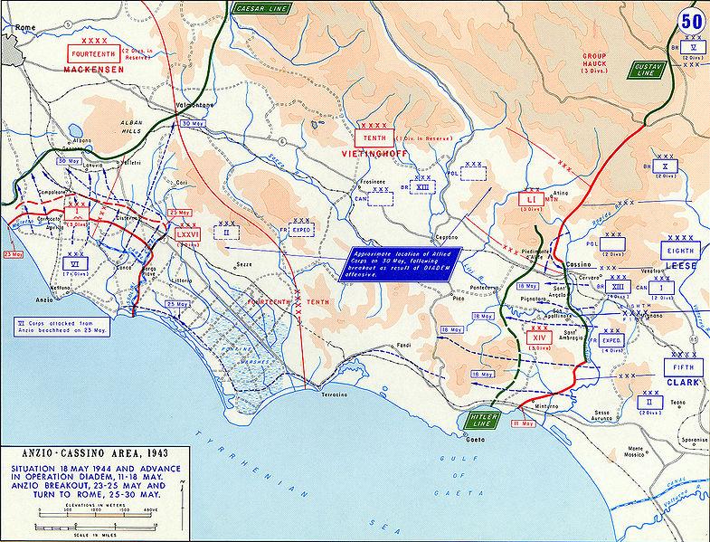 Наступление Союзников под Монте-Кассино (операция «Диадема») и прорыв Союзников с плацдарма в Анцио, май 1944 г.